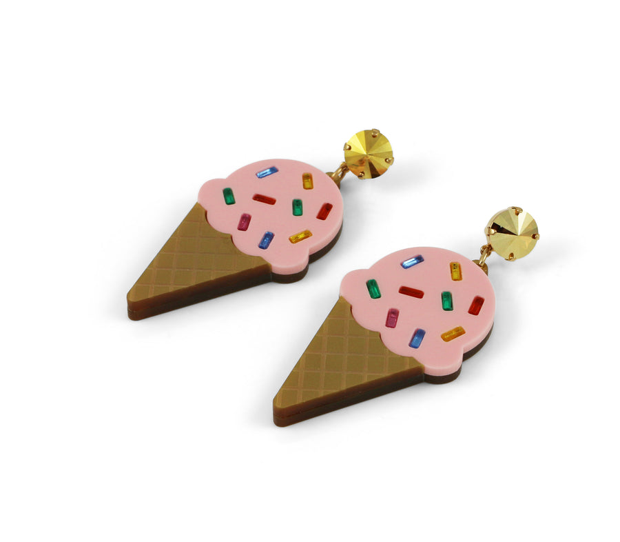 Ice Cream Earrings - Strawberry Sprinkle