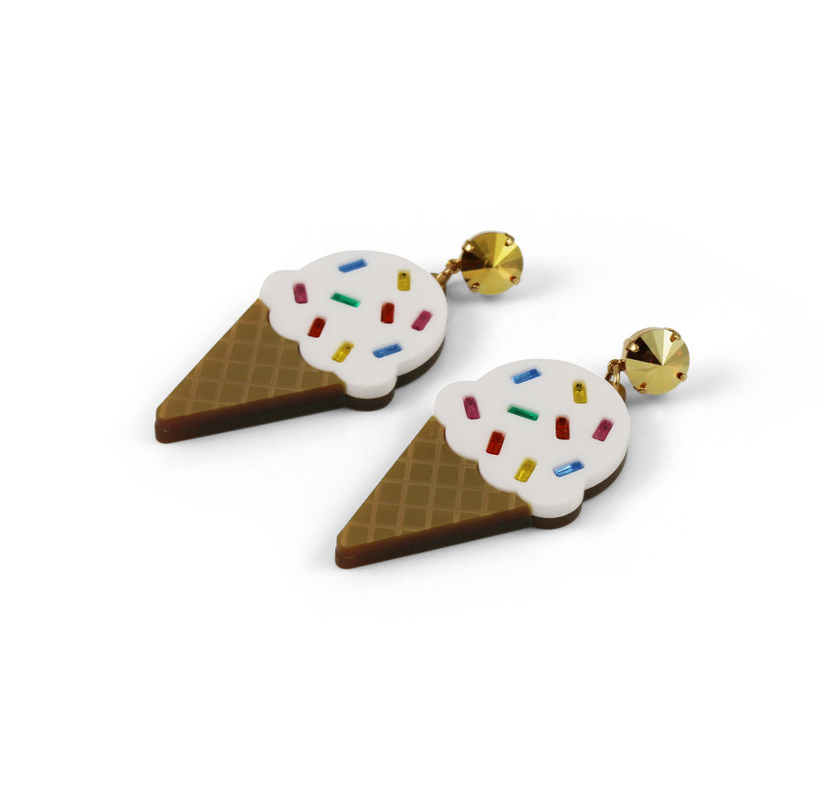 Ice Cream Earrings - Vanilla Sprinkle