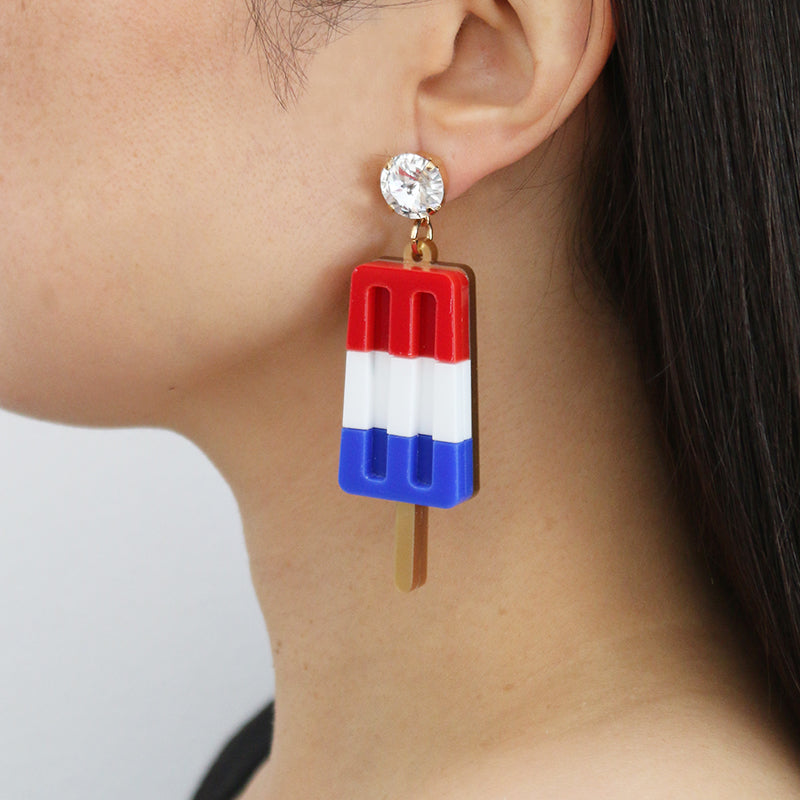 Ice Lolly Earrings - Red White and Blue