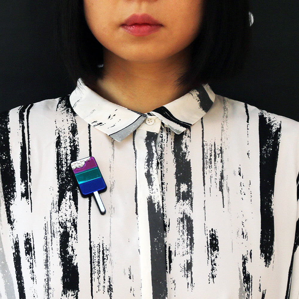 Ice Pop Brooch - Purple Blue Teal