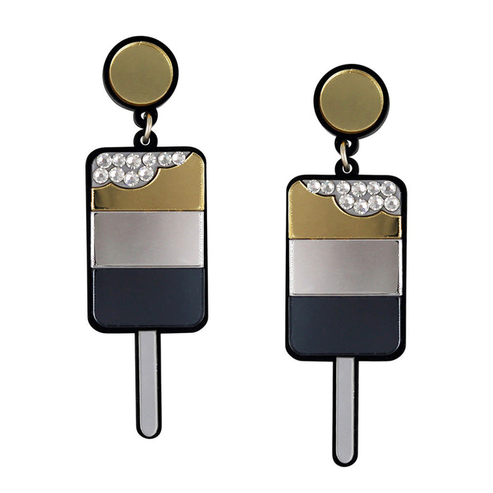Ice Pop Earrings - Gold Silver Black