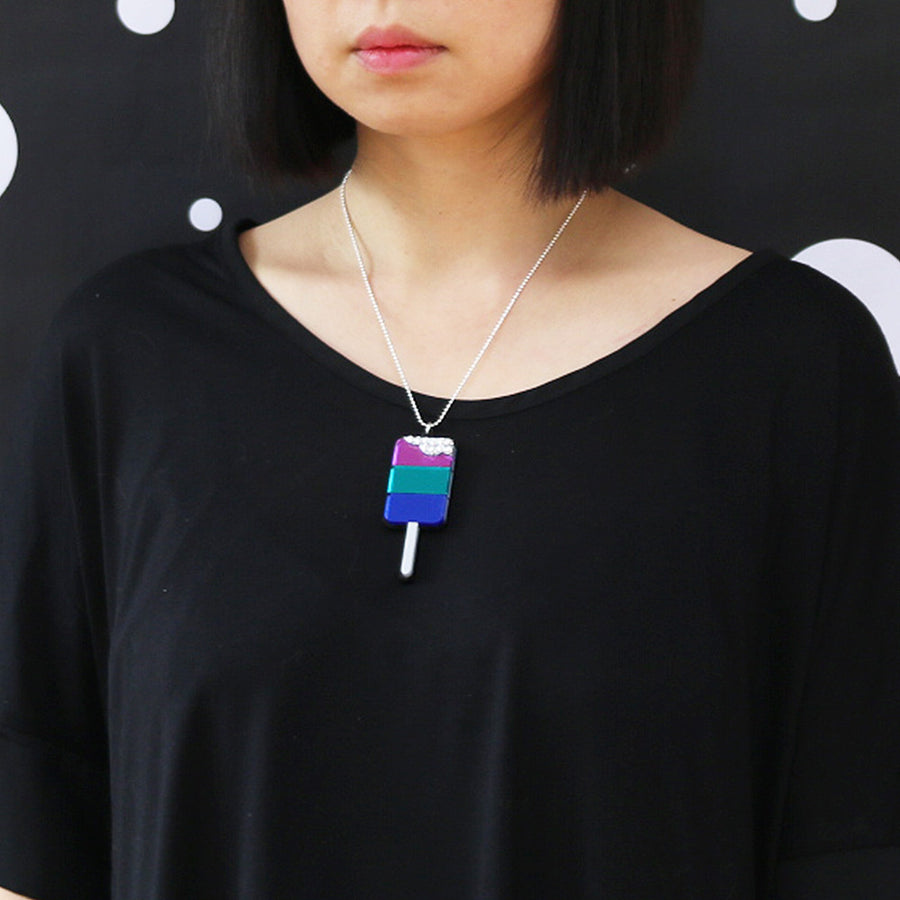 Ice Pop Necklace - Purple Blue Teal