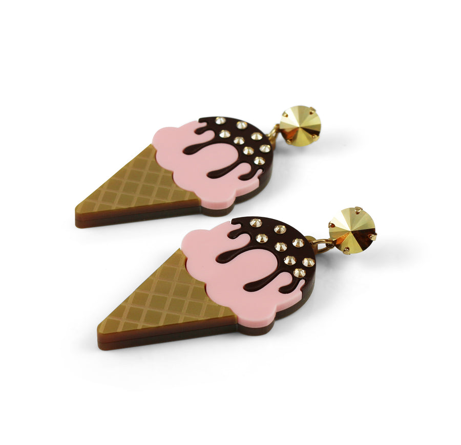 Ice Cream Earrings - Chocolate Dipped Strawberry