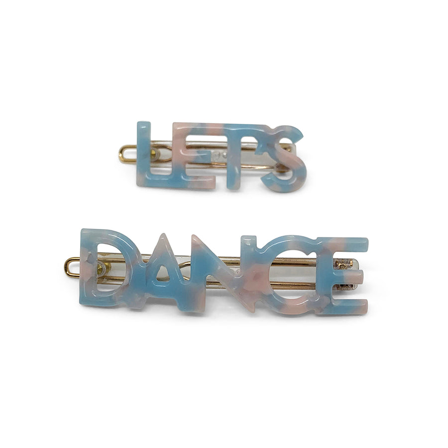 Let's Dance Hair Clips in Blue Marble