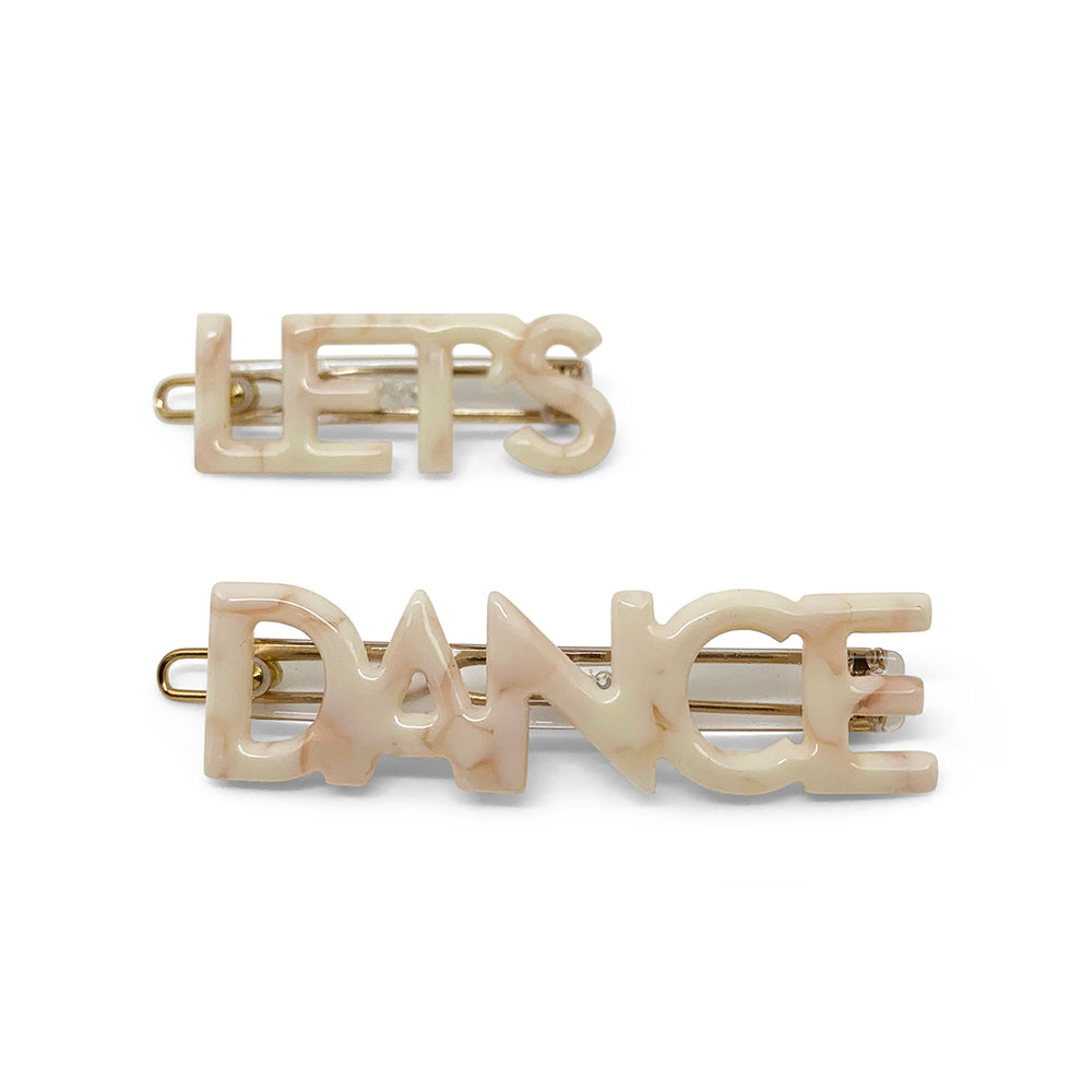 Let's Dance Hair Clips in Cream Marble