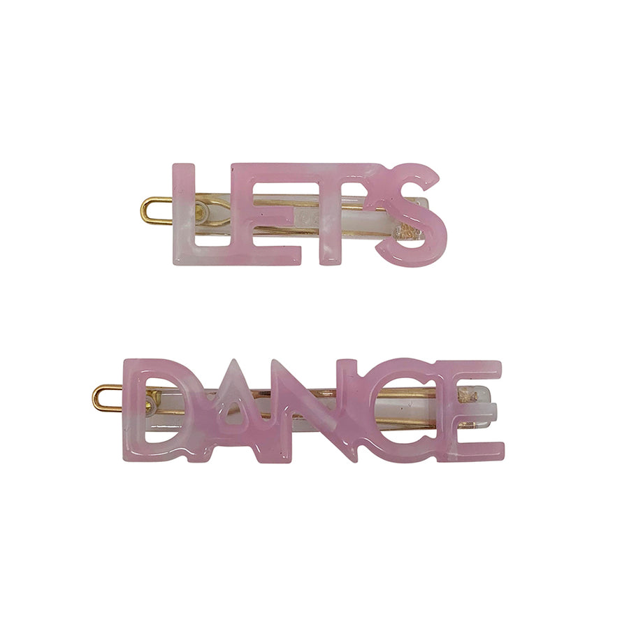 Let's Dance Hair Clips in Pink Marble