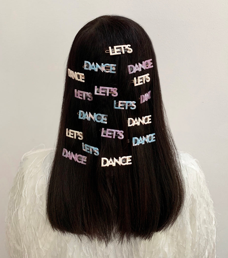 Let's Dance Hair Clips in Black Marble