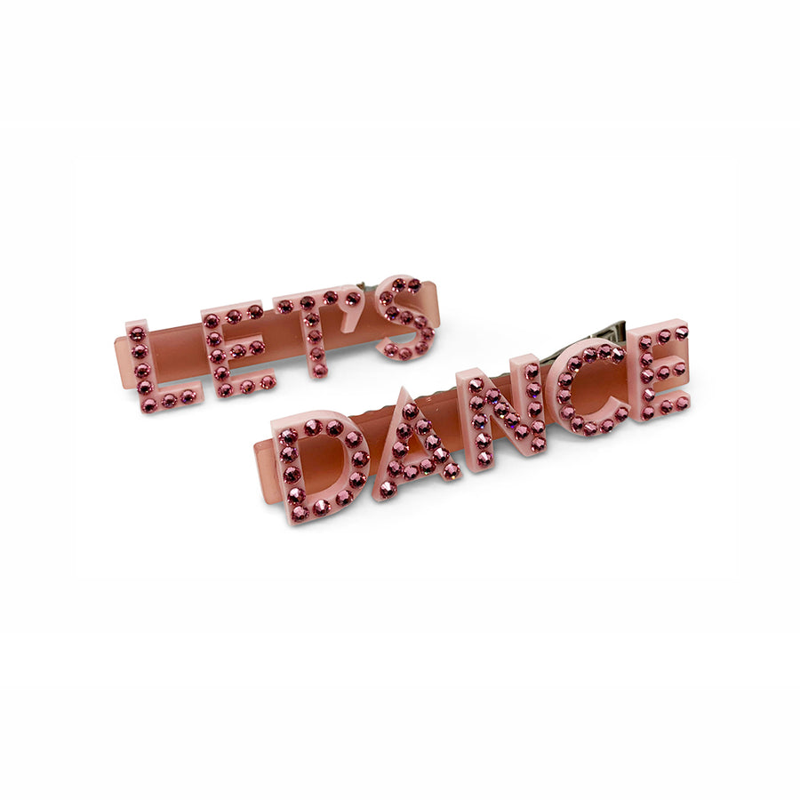 Let's Dance Swarovski Hair Clips in Pink