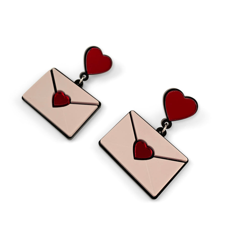 Jennifer Loiselle laser cut acrylic Perspex Love Letter Earrings