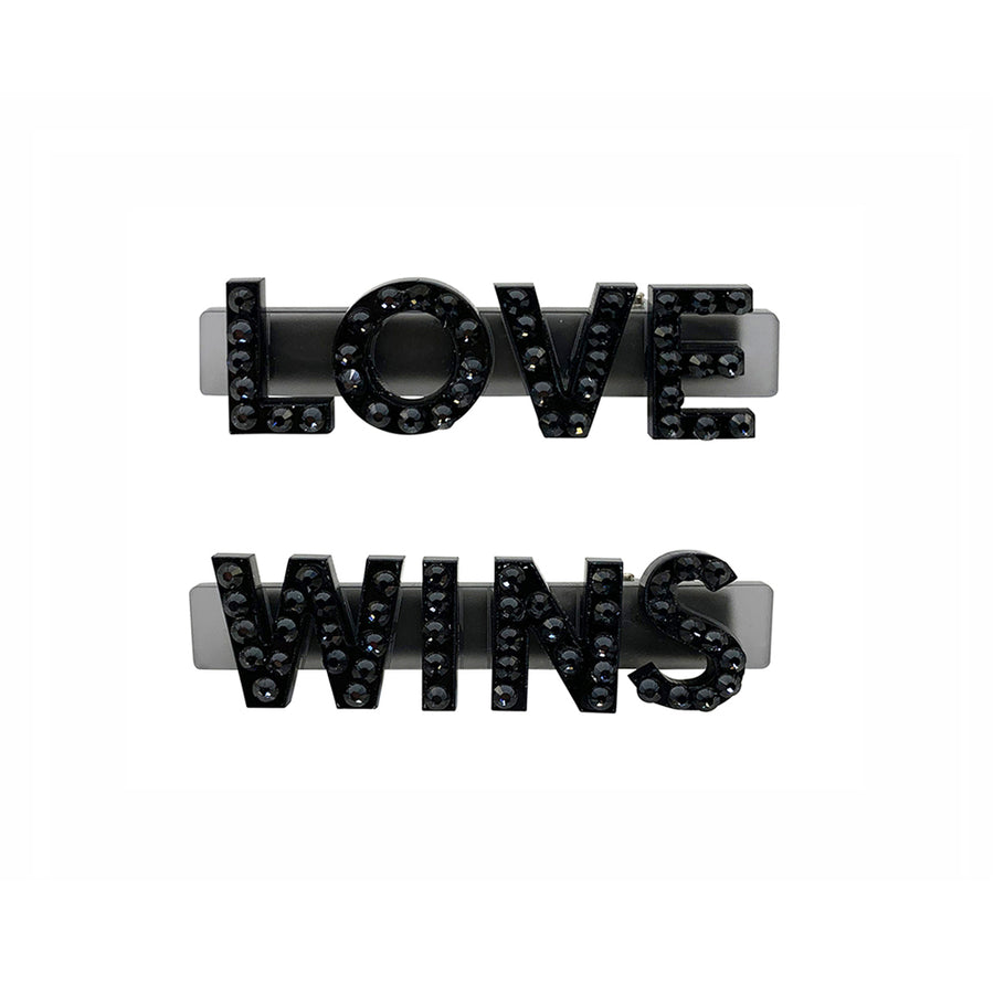 Love Wins Swarovski Hair Clips in Black