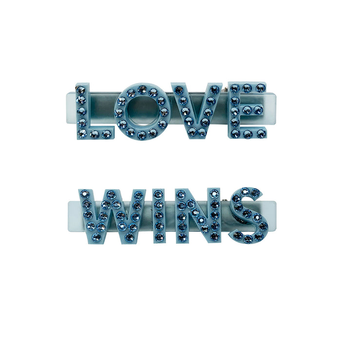 Love Wins Swarovski Hair Clips in Blue