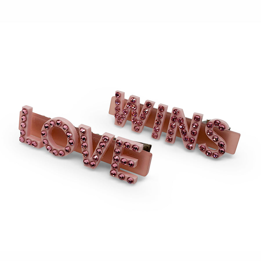 Love Wins Swarovski Hair Clips in Pink