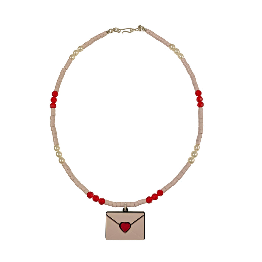 Jennifer Loiselle bead pearl Love Letter laser cut acrylic  Necklace
