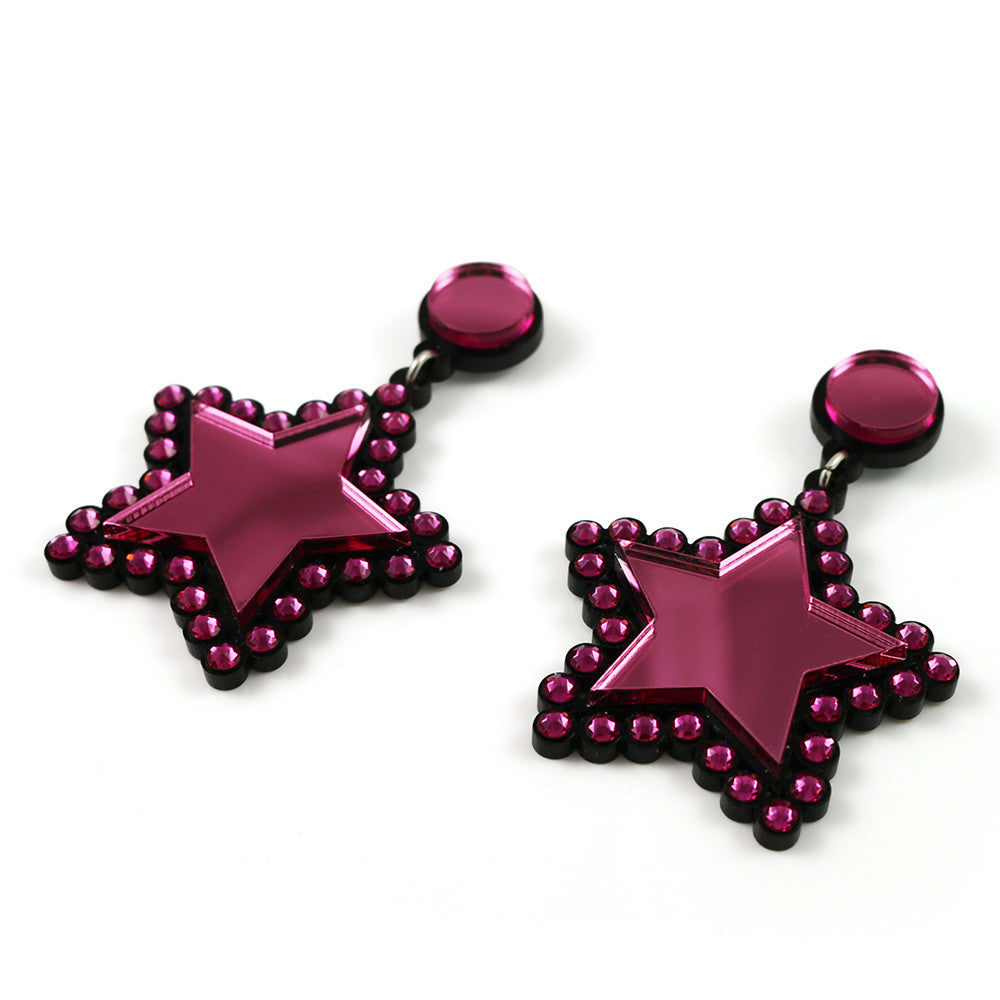 Lucky Star Earrings in pink
