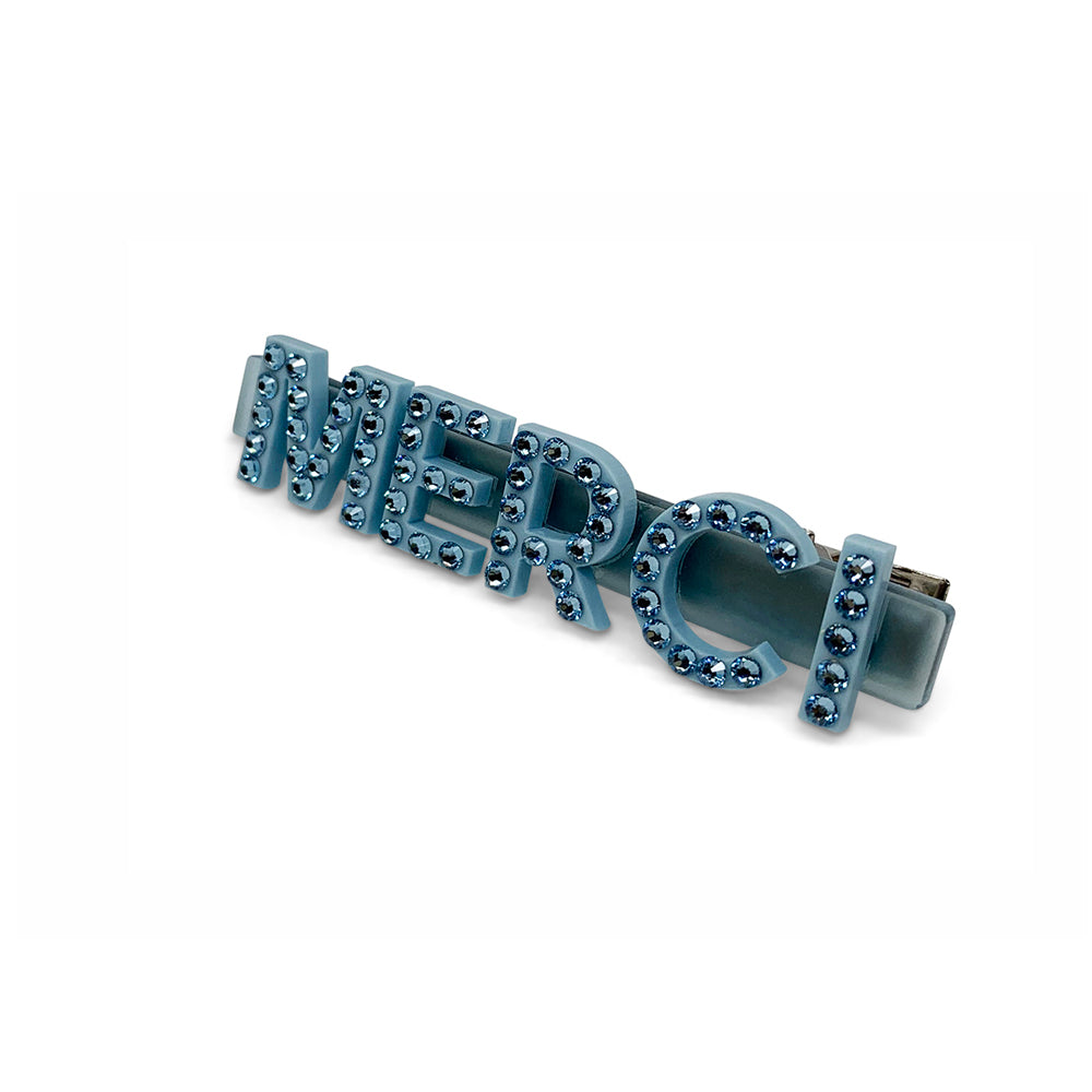Merci Swarovski Hair Clips in Blue