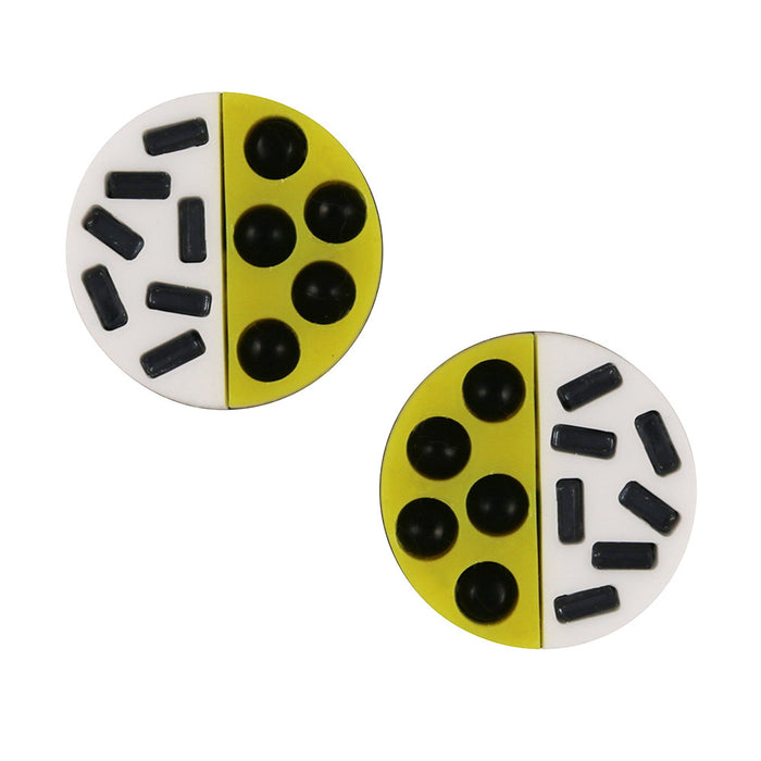 Mini Memphis Disc Earrings - Yellow White