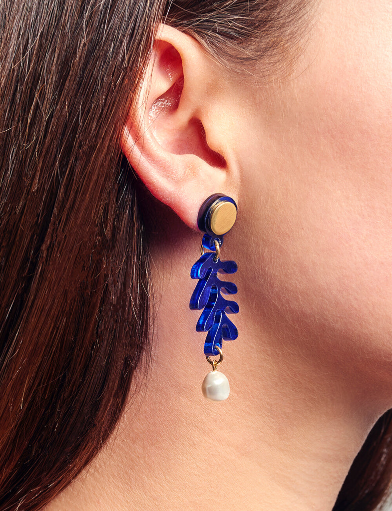 Mini Tendril Earrings in Marine Blue