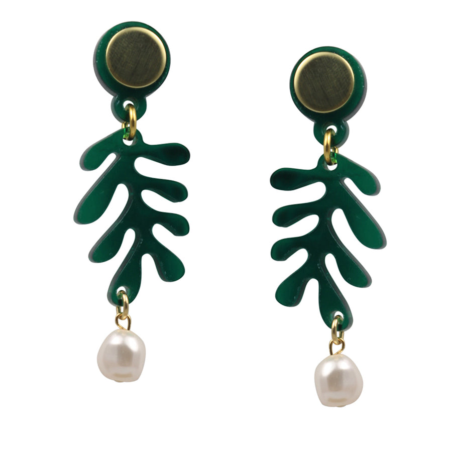 Mini Tendril Earrings in Green