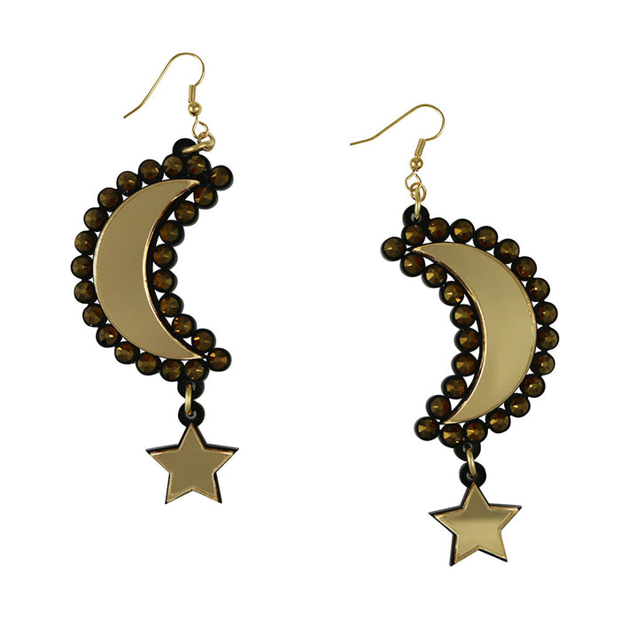 Moon and Star Earrings - Gold