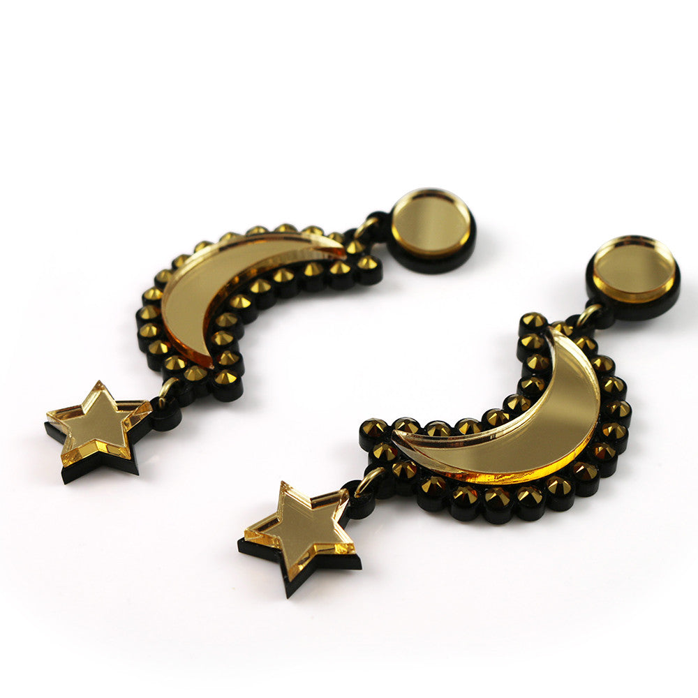 Moon and Star Earrings in gold