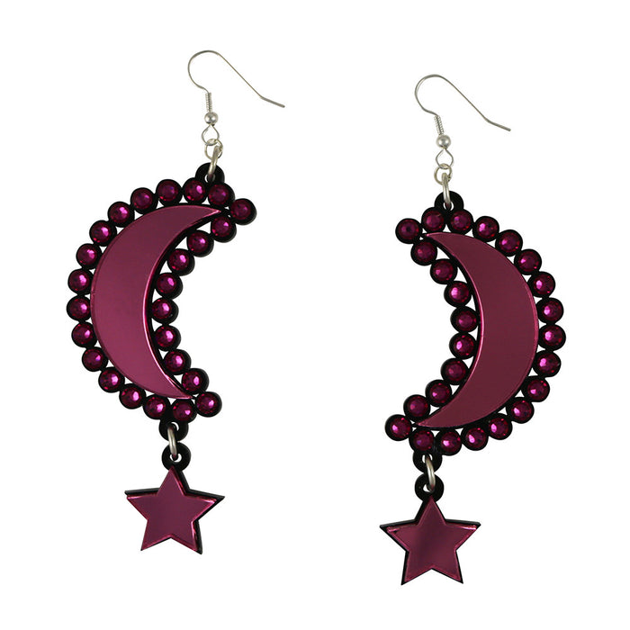 Moon and Star Earrings - Pink