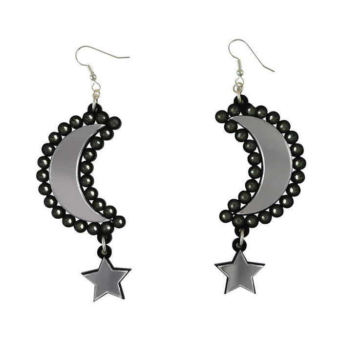 Moon and Star Earrings - Silver