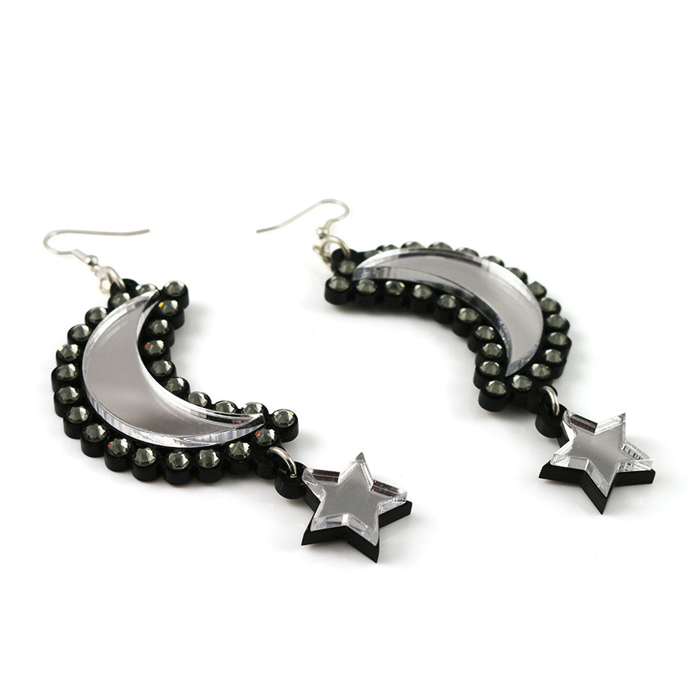 Moon and Star Earrings in silver