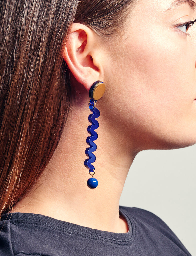 Moray Earrings in Marine Blue