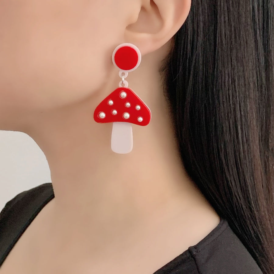 Jennifer Loiselle laser cut mushroom acrylic earrings