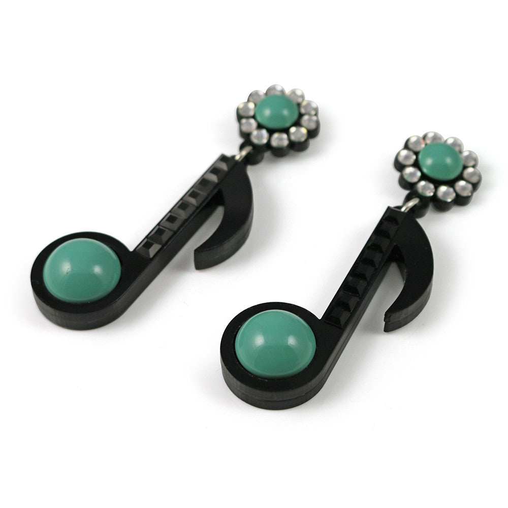 Musical Note Earrings - Turquoise