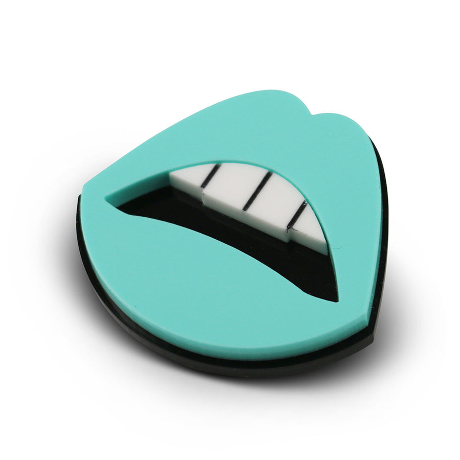 My Lips are Sealed Brooch in aqua