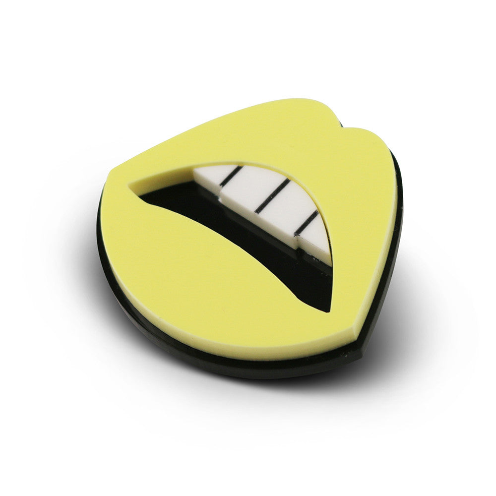 My Lips are Sealed Brooch in yellow