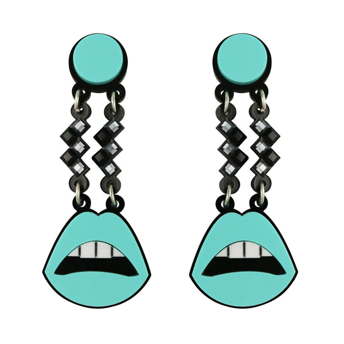 My Lips Are Sealed earrings in aqua
