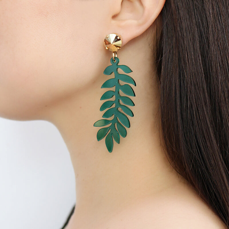 Jennifer Loiselle laser cut acrylic leaf botanical earrings