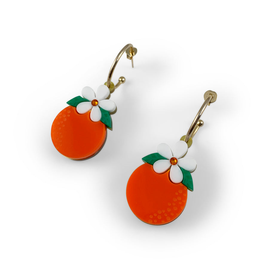 Jennifer Loiselle Orange Blossom Fruit  Hoop Earrings