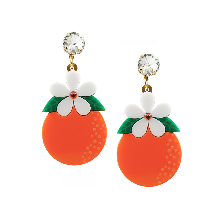 Jennifer Loiselle laser cut acrylic orange blossom fruit earrings