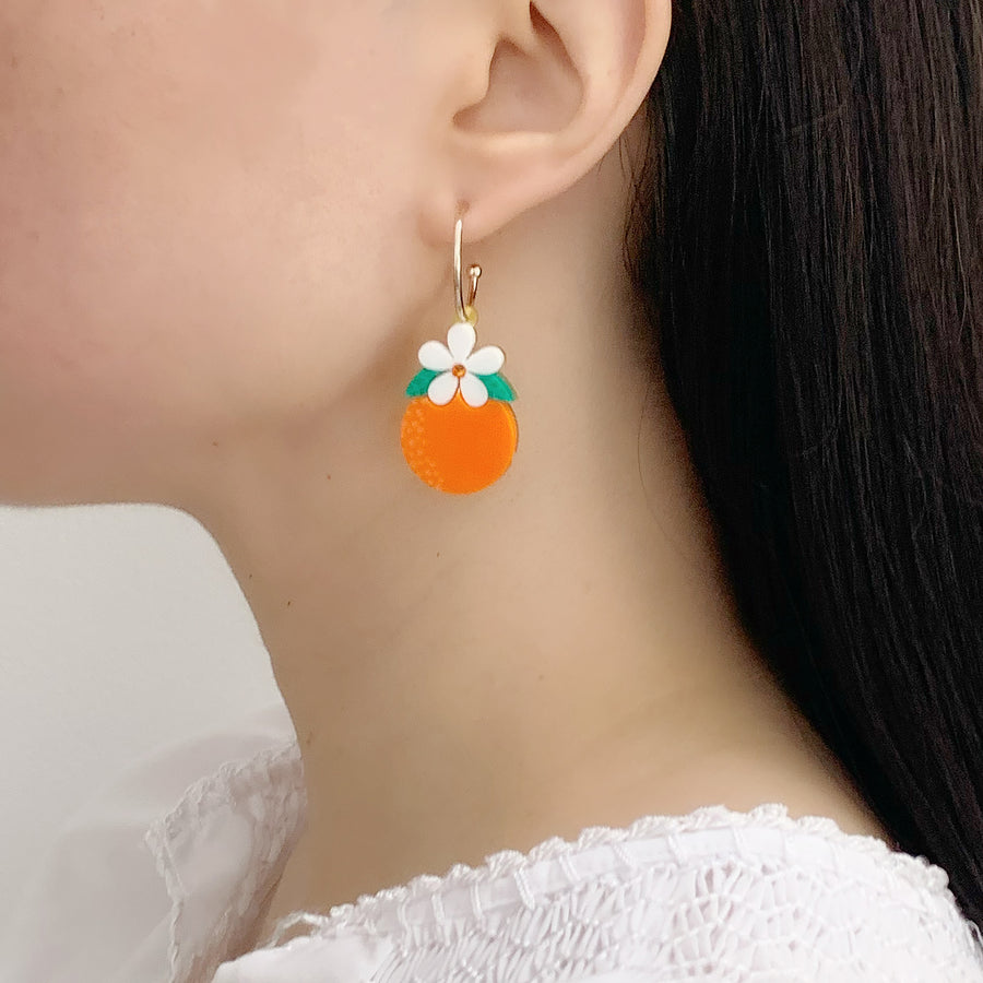 Orange Blossom Hoop Earrings