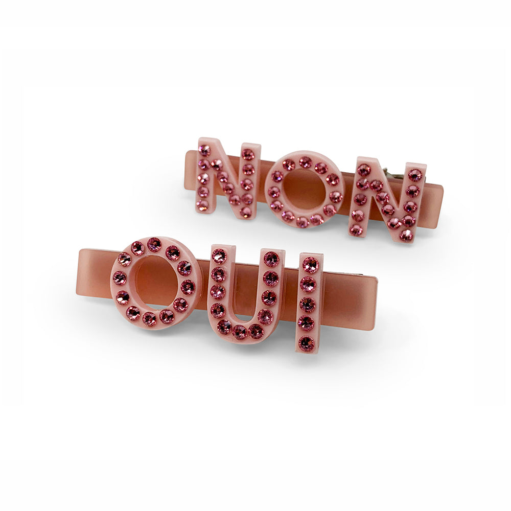 Oui Non Swarovski Hair Clips in Pink