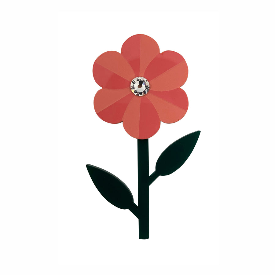 Pansy Brooch in Coral