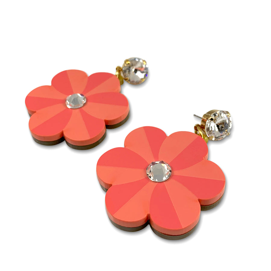 Pansy Drop Earrings in Coral