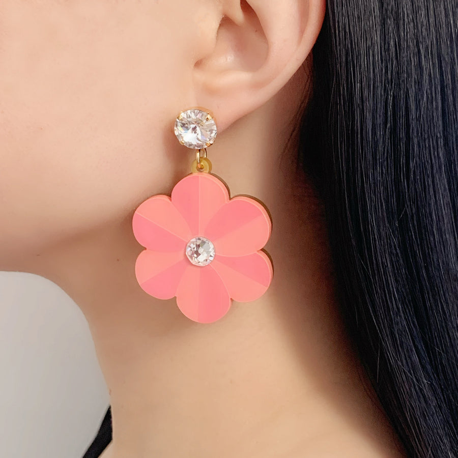 Jennifer Loiselle laser cut acrylic pansy flower earrings
