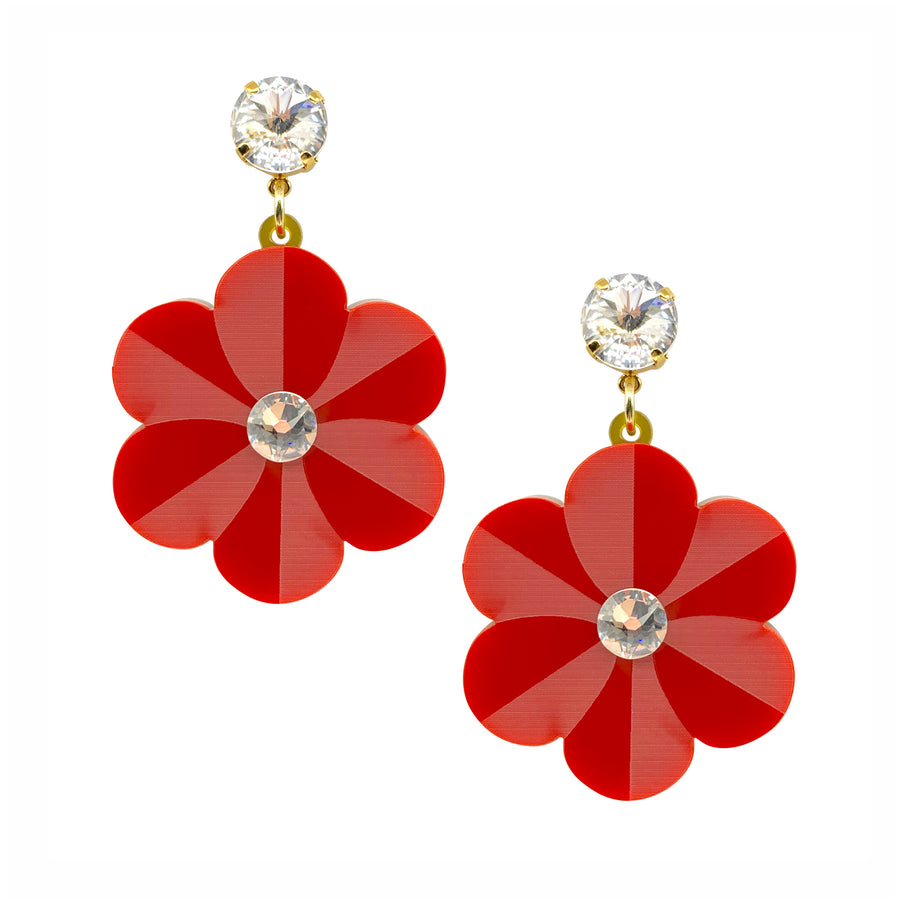 Pansy Drop Earrings in Red