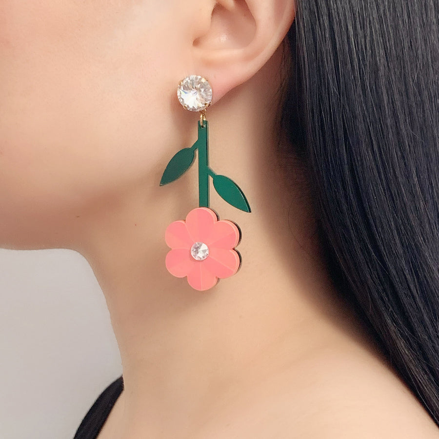 Pansy Earrings in Coral