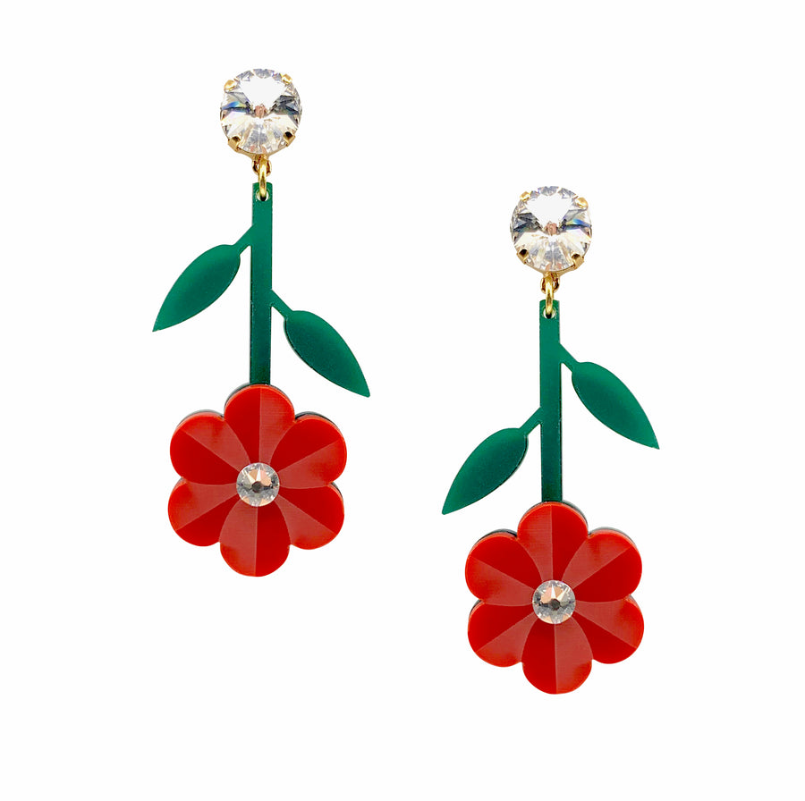 Pansy Earrings in Red
