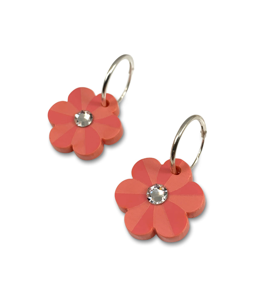 Pansy Hoop Earrings in Coral