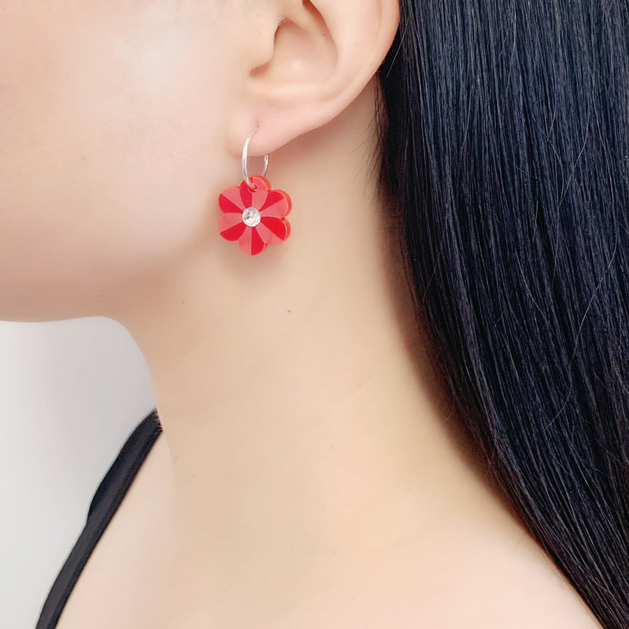 Jennifer Loiselle laser cut acrylic pansy flower hoop earrings