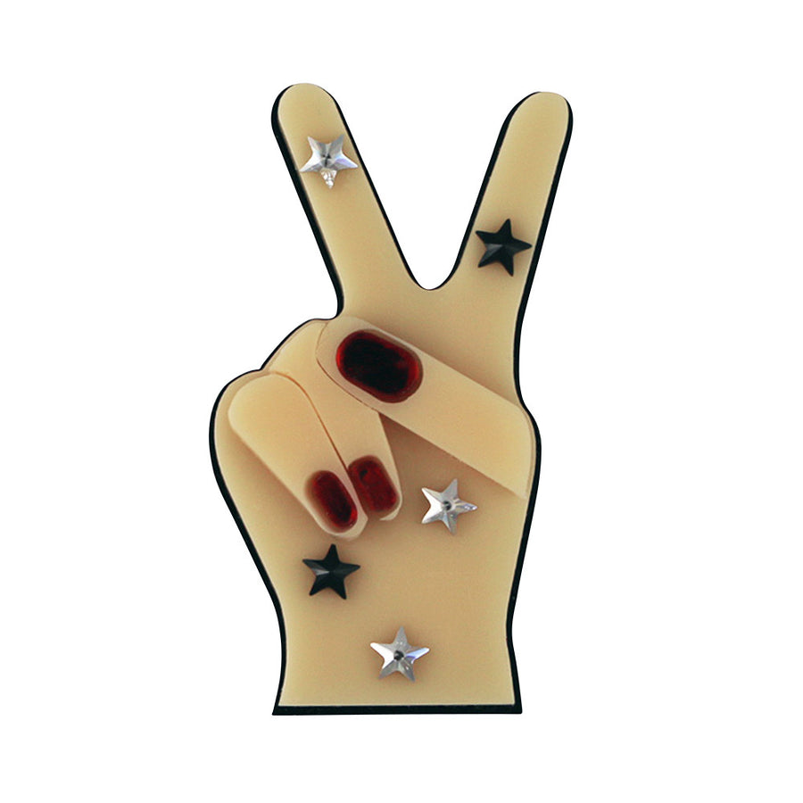 Jennifer Loiselle laser cut acrylic peace out statement brooch