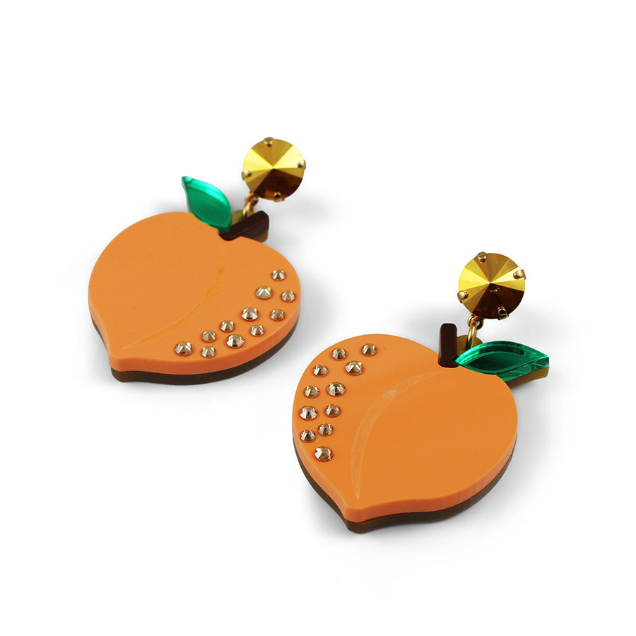 Jennifer Loiselle laser cut acrylic peach fruit earrings