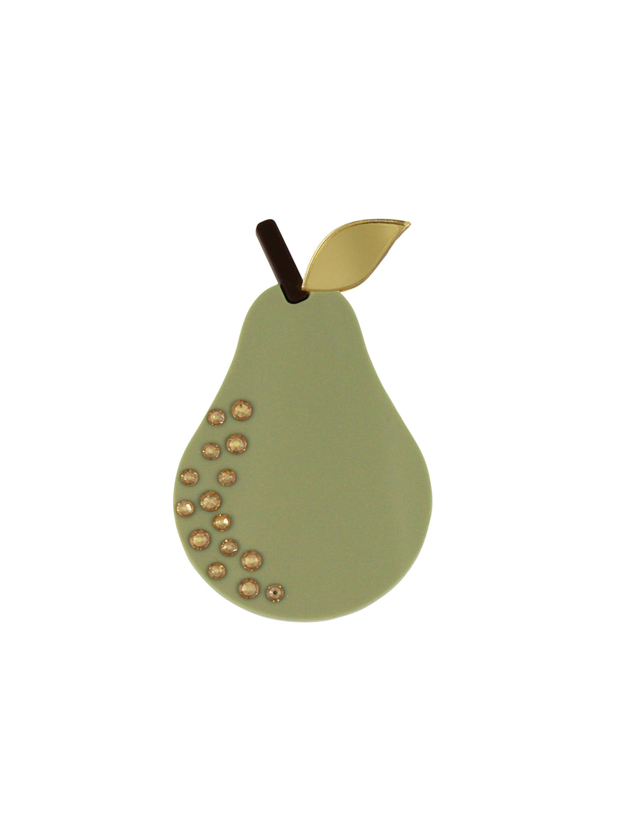 Jennifer Loiselle laser cut acrylic pear fruit brooch