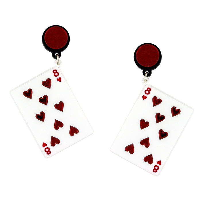 Play Your Cards Right Earrings in white